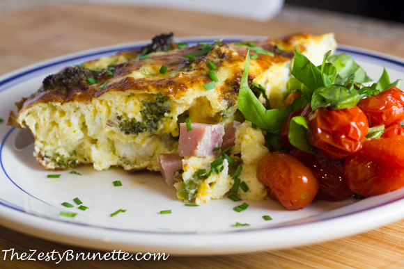 Roasted Broccoli and Ham Fritatta